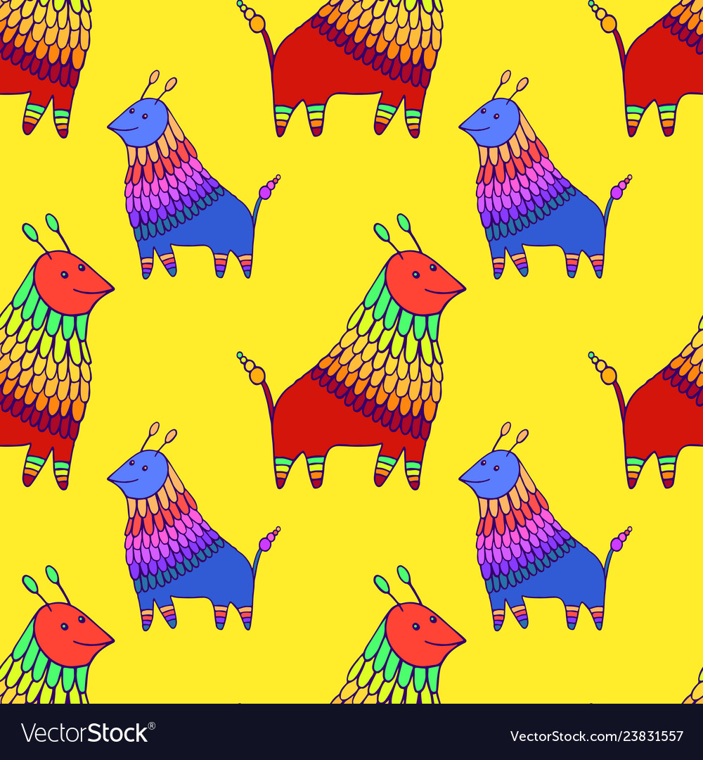Colorful fantasy animal character seamless pattern