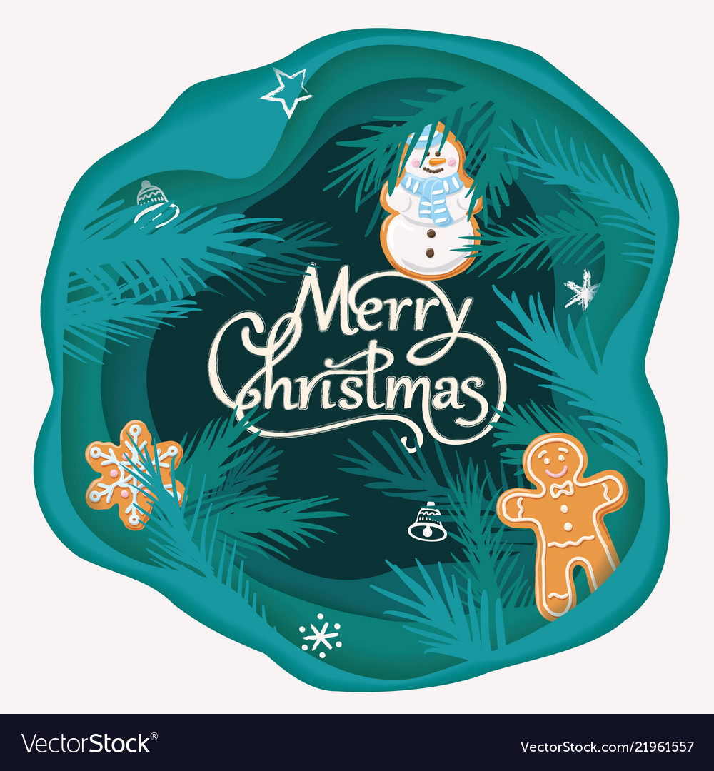 Layered cut out paper merry christmas card with