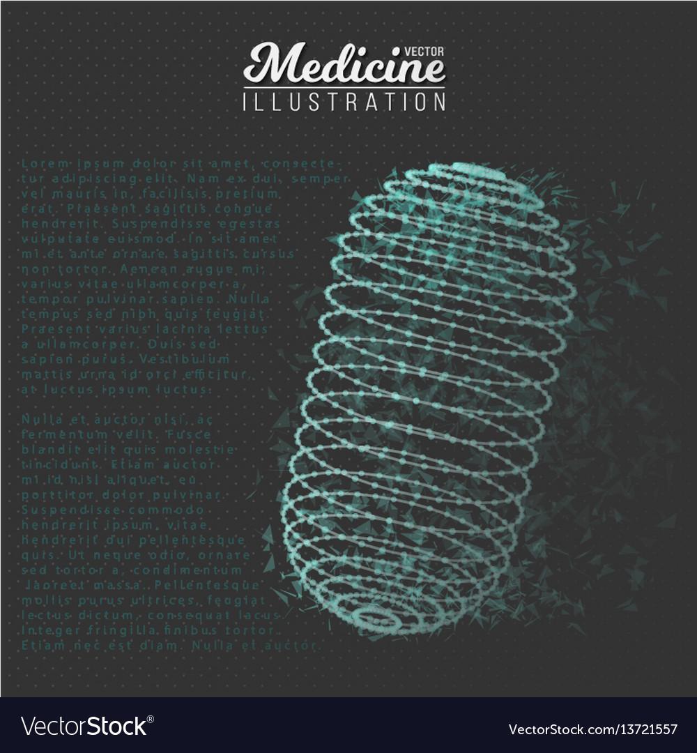 Medicine pill polygonal wireframe pill