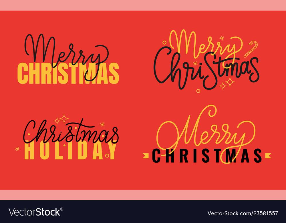 Merry christmas xmas holiday inscription lettering