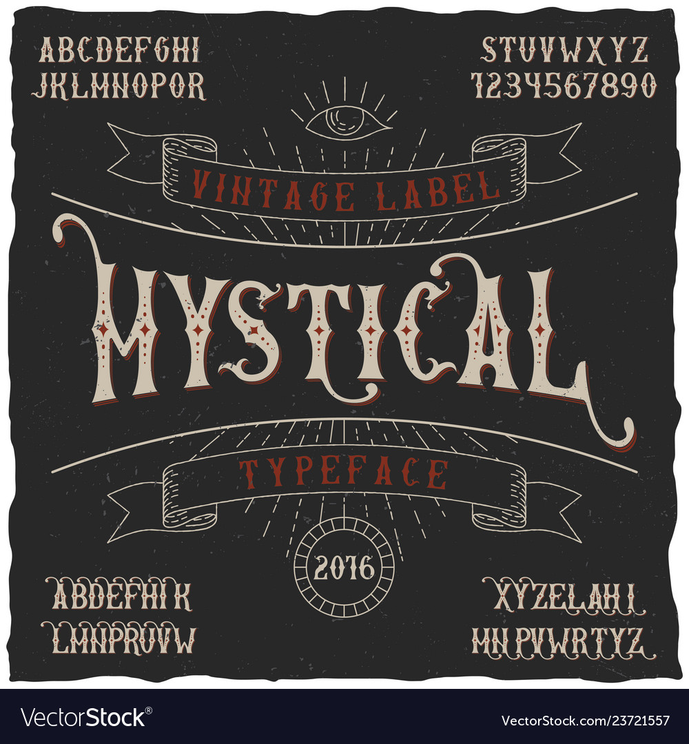 Mystical label typeface poster