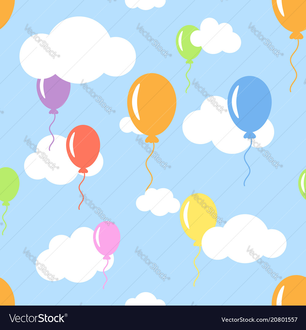 Seamless pattern with clouds and different color