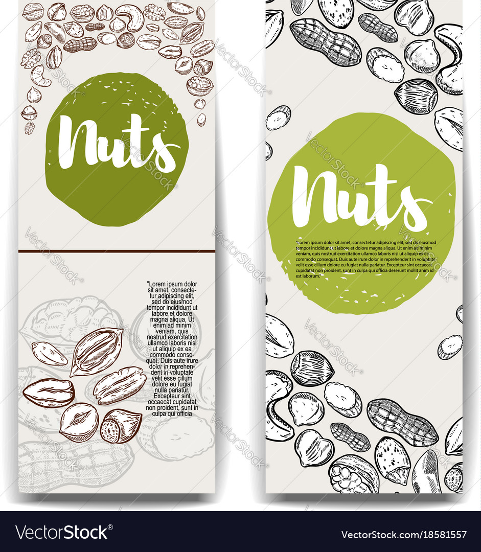Set of banner templates with nuts cashew hazelnut