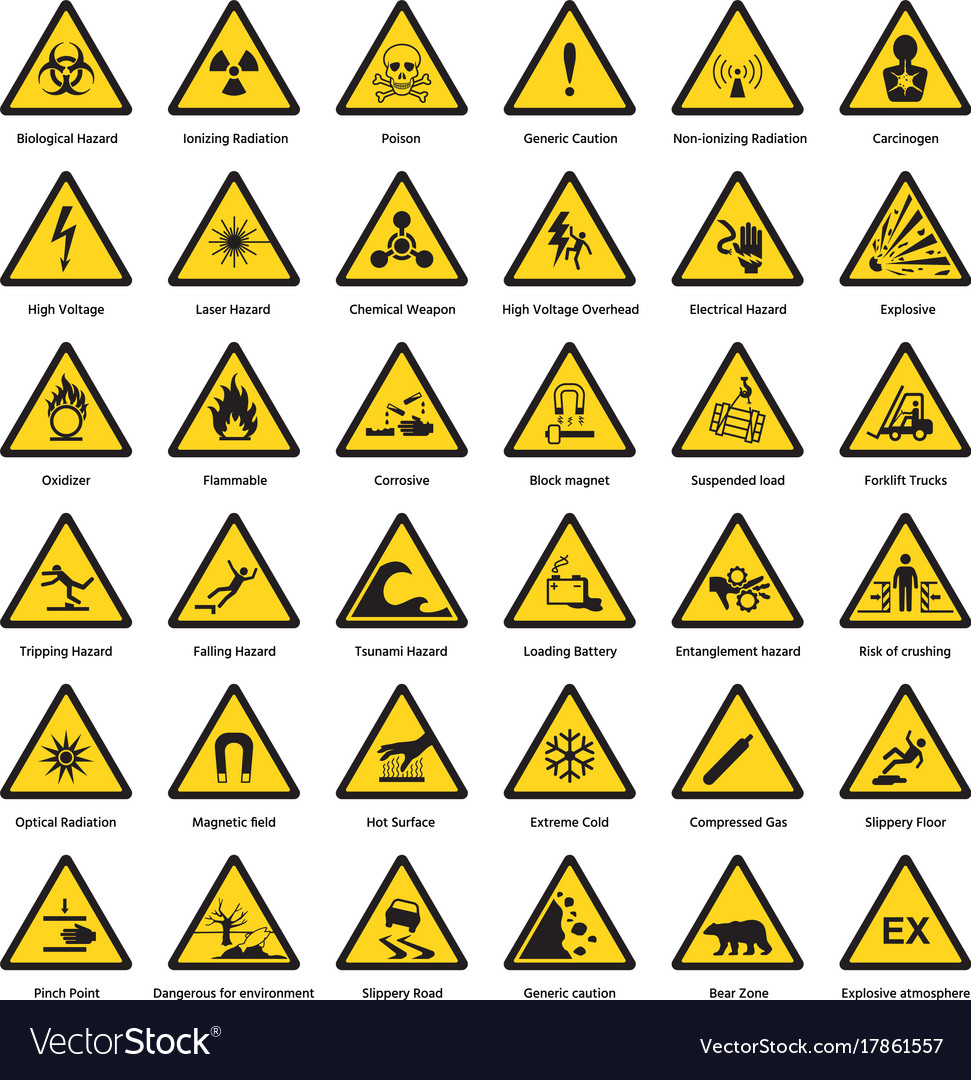 Set of triangle yellow warning sign hazard dander vector image