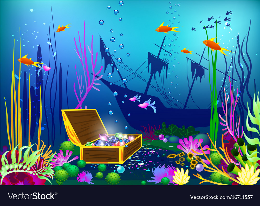 Undersea with sunk ship and