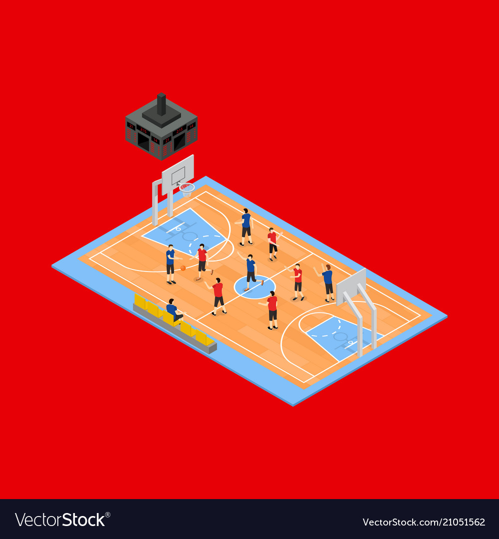 Basketball field 3d isometric view