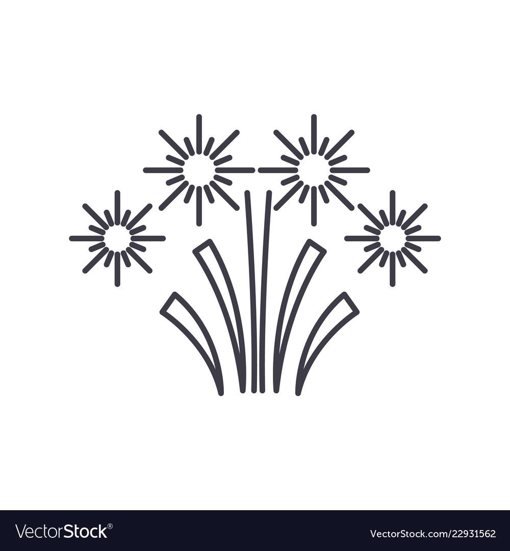 Christmas fireworks line icon concept christmas