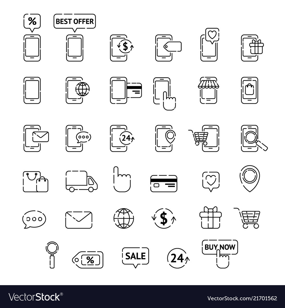 Collection of line icons mobile shopping mobile