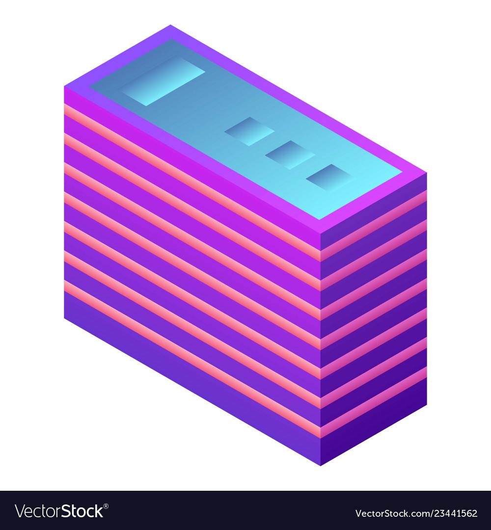 Futuristic building icon isometric style