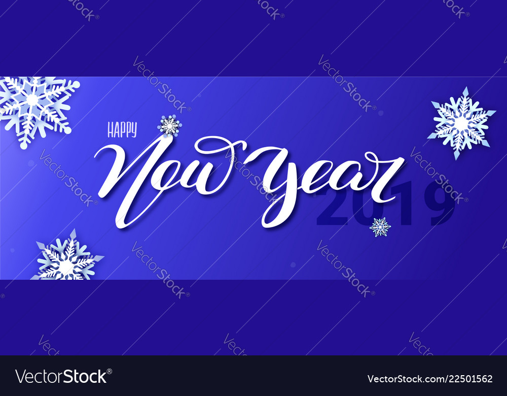Happy new year 2019 hand-lettering text of