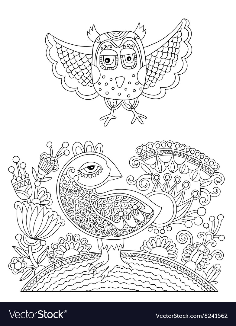 Original black and white line drawing page of