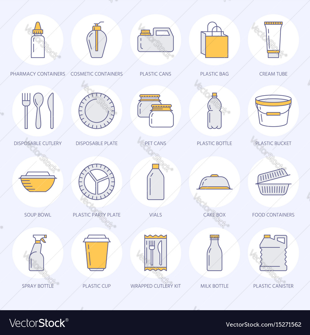 sc 1 st  VectorStock & Plastic packaging disposable tableware line icons Vector Image