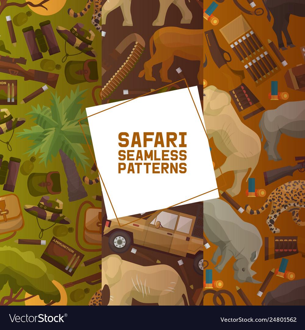 Safari hunting set seamless patterns