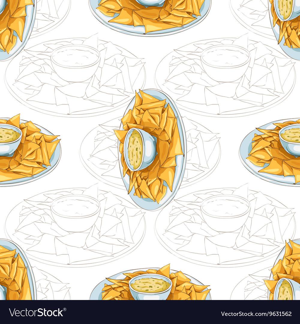 Seamless pattern nachos scetch