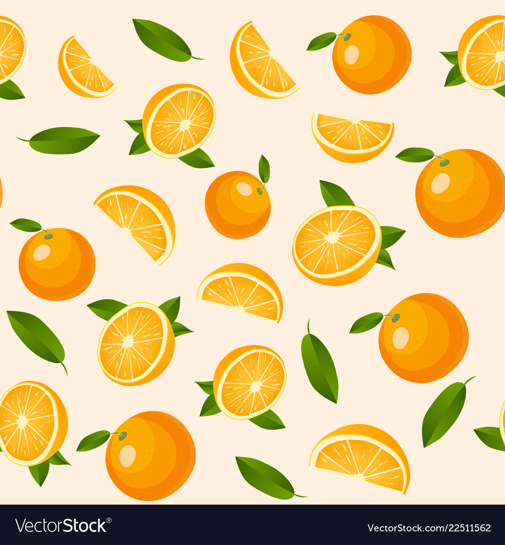 Seamless pattern with oranges summer