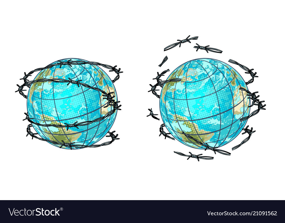Set planet earth in barbed wire and without