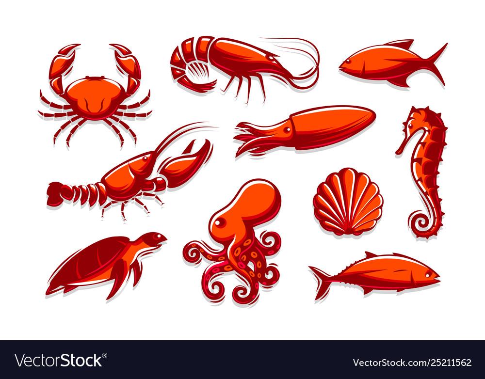 Set sea creatures icons crab shrimp tuna