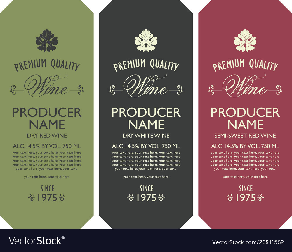 Set three wine labels with vine leaves