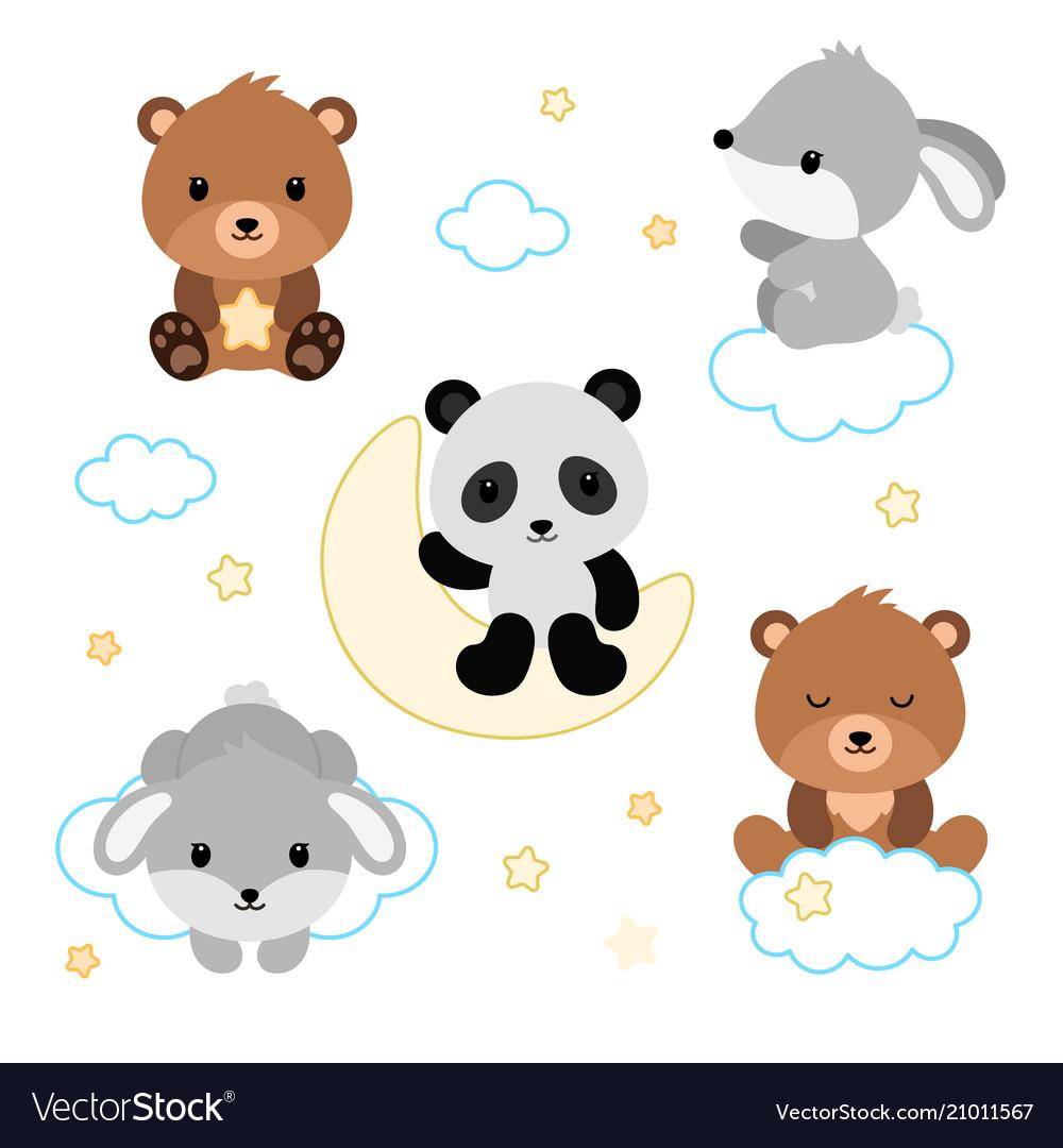 Adorable flat sleeping animals set