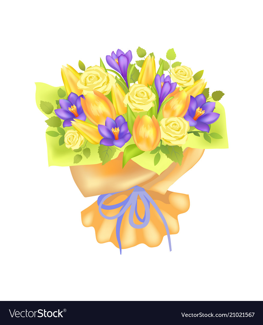 Bunch of spring flowers bouquet rose and peony Vector Image