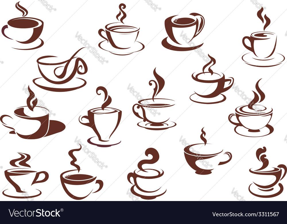 Doodle sketch set of steaming hot beverages vector image