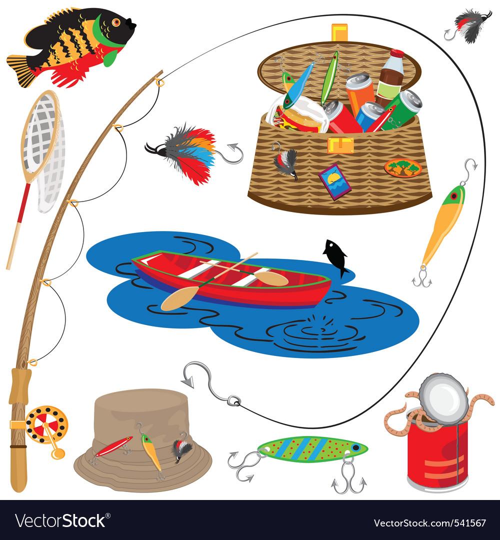 Fishing icons vector image