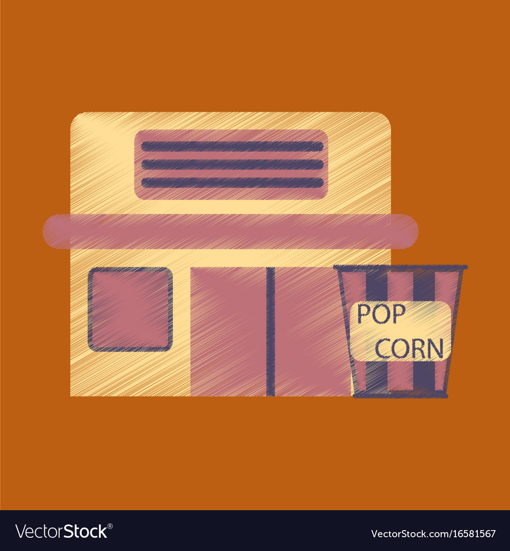 Flat icon in shading style building cinema popcorn