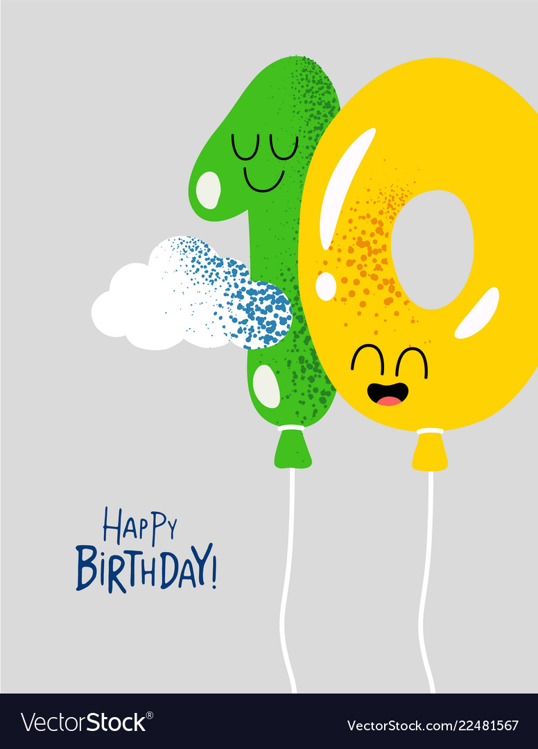 Funny happy birthday gift card number 10 balloons