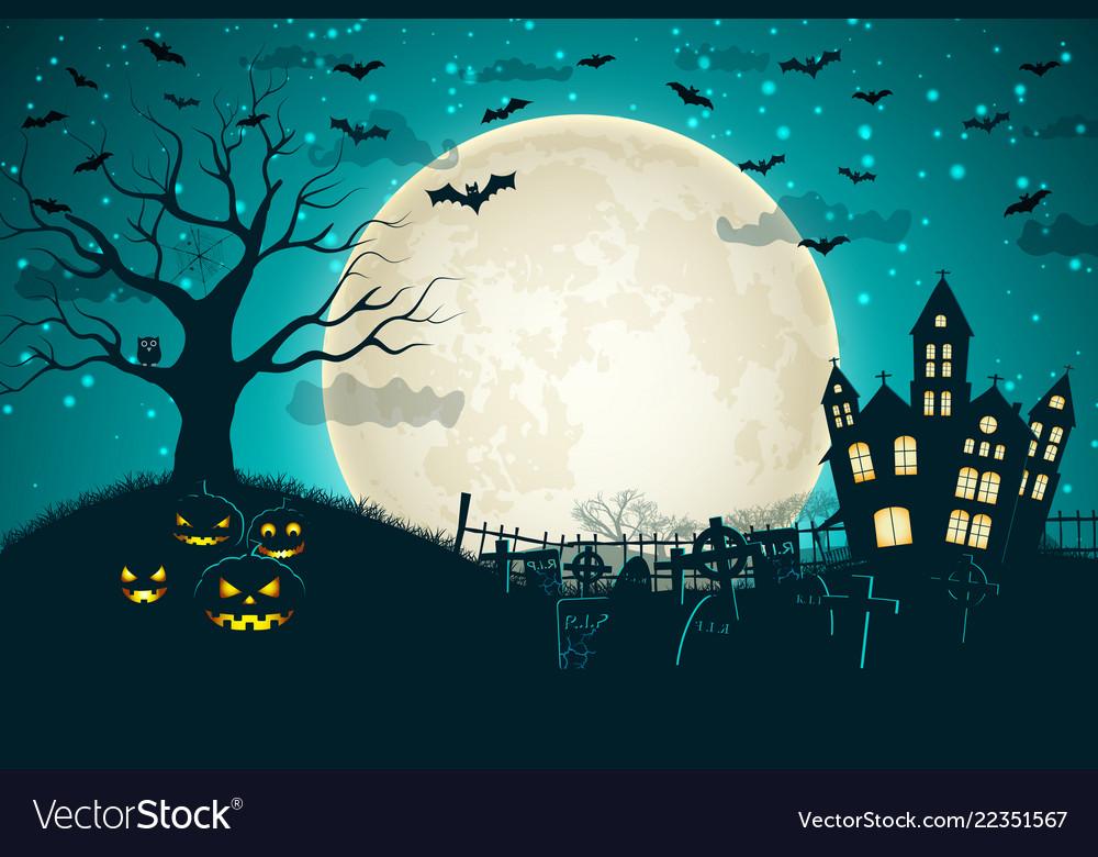 Halloween night moon composition Royalty Free Vector Image