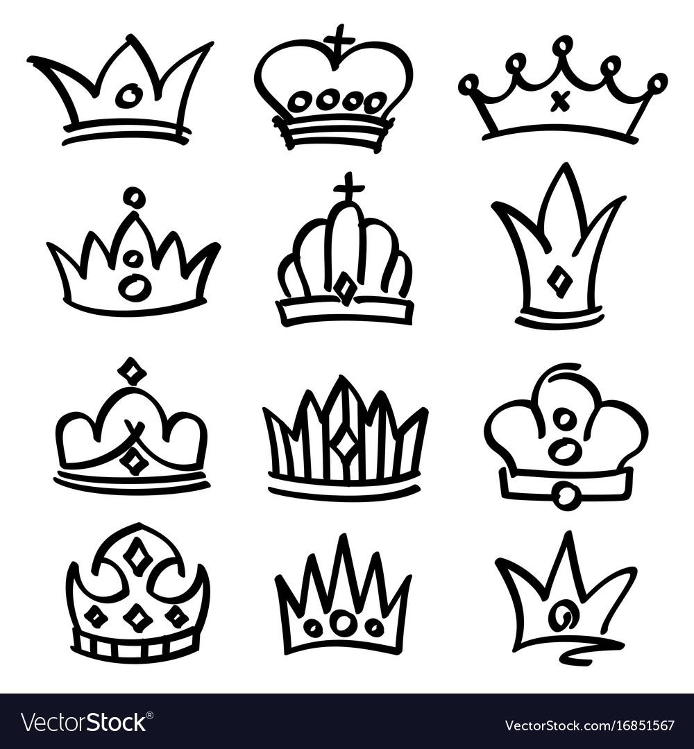 Hand drawn princess crowns sketch doodle