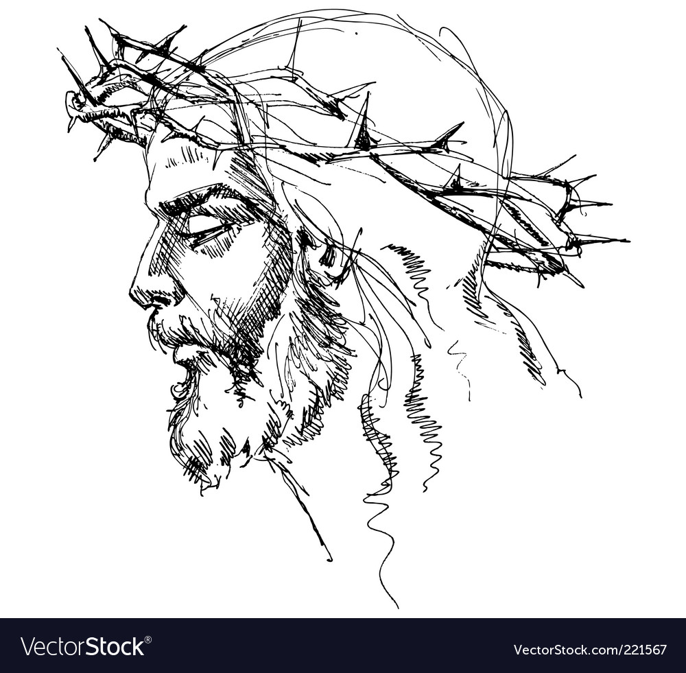 Jesus christ sketch vector image