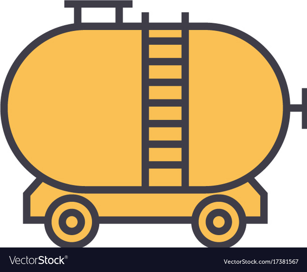 Oil tank flat line concept vector image