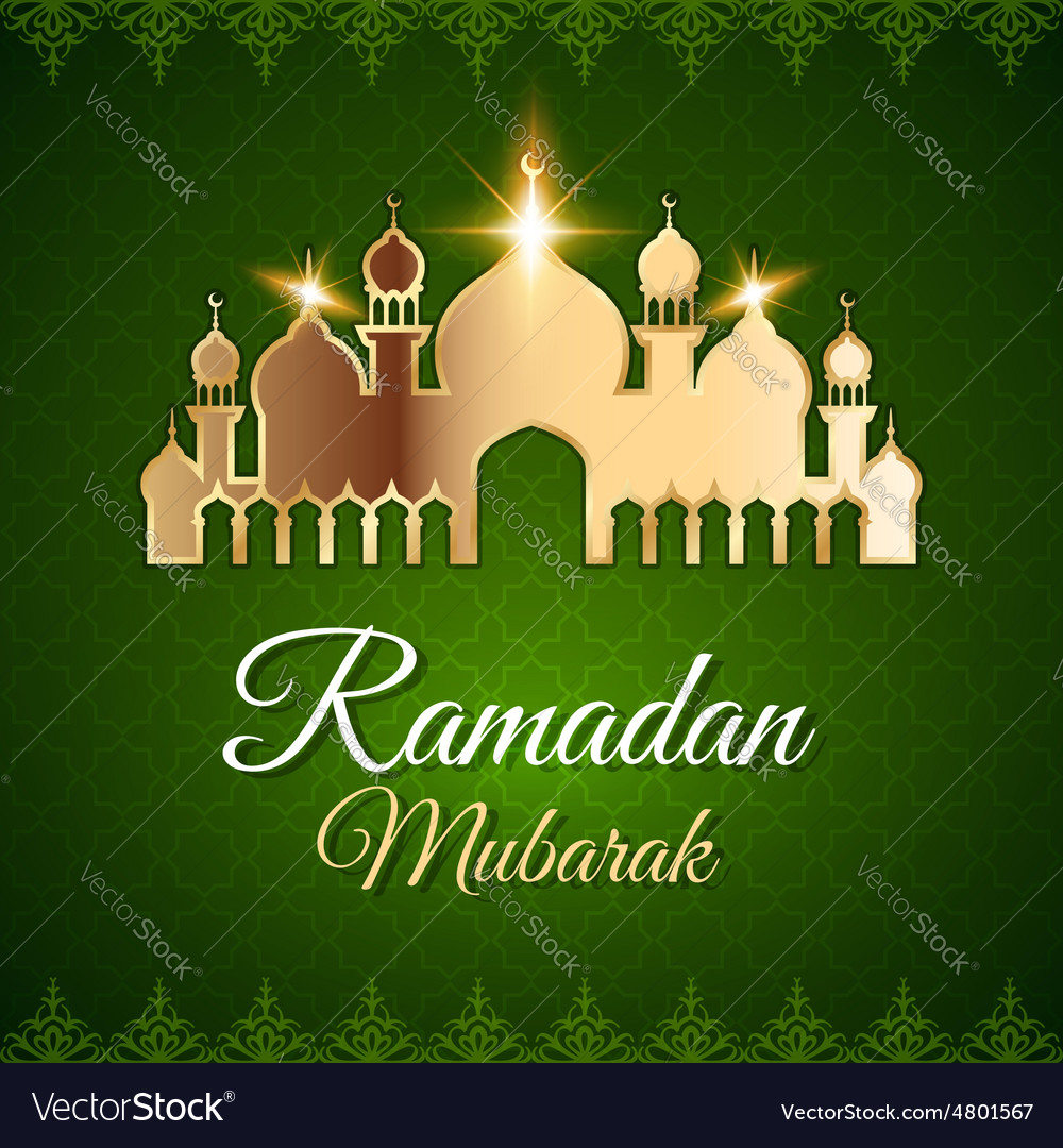 Ramadan mubarak greeting card with mosque vector image m4hsunfo