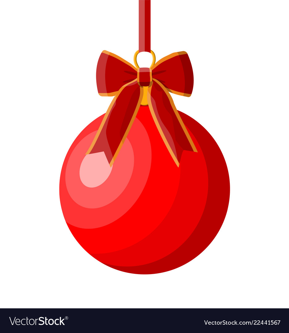 Red christmas ball with red ribbon and bow