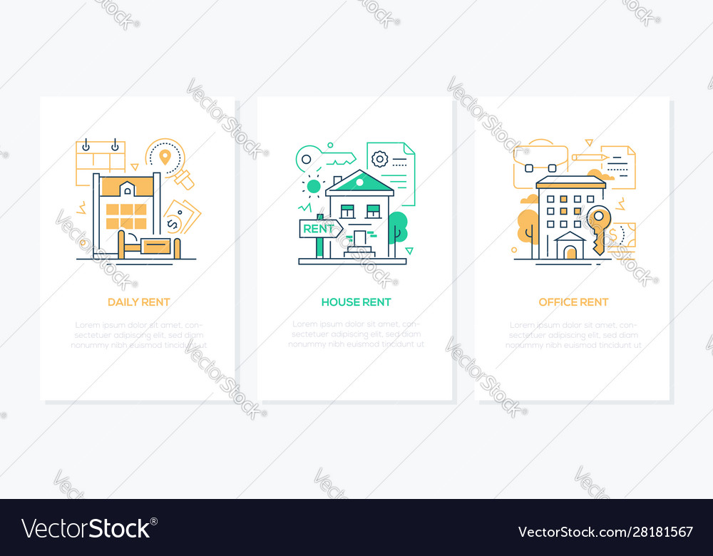 Rental services - line design style banners set