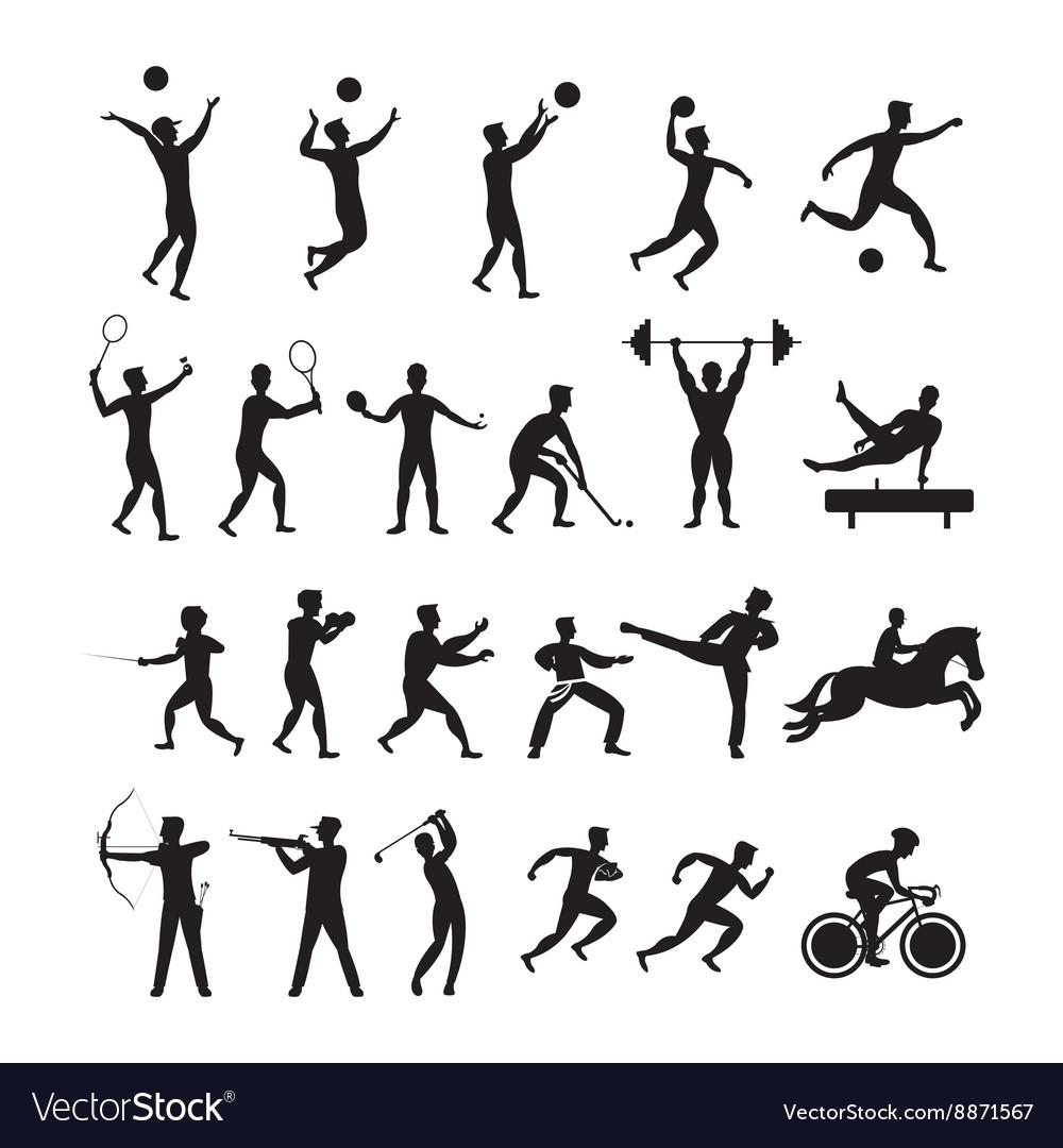 sports athletes men symbol silhouette set vector image  vectorstock