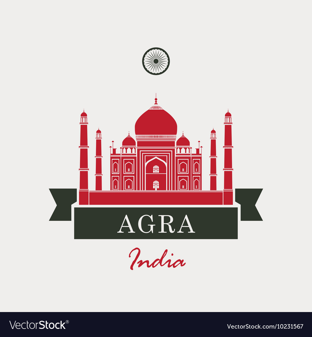Taj Mahal and Indian flag vector image