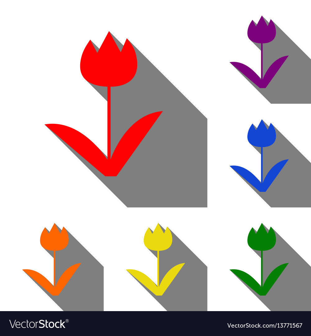 Tulip sign set of red orange yellow green vector image