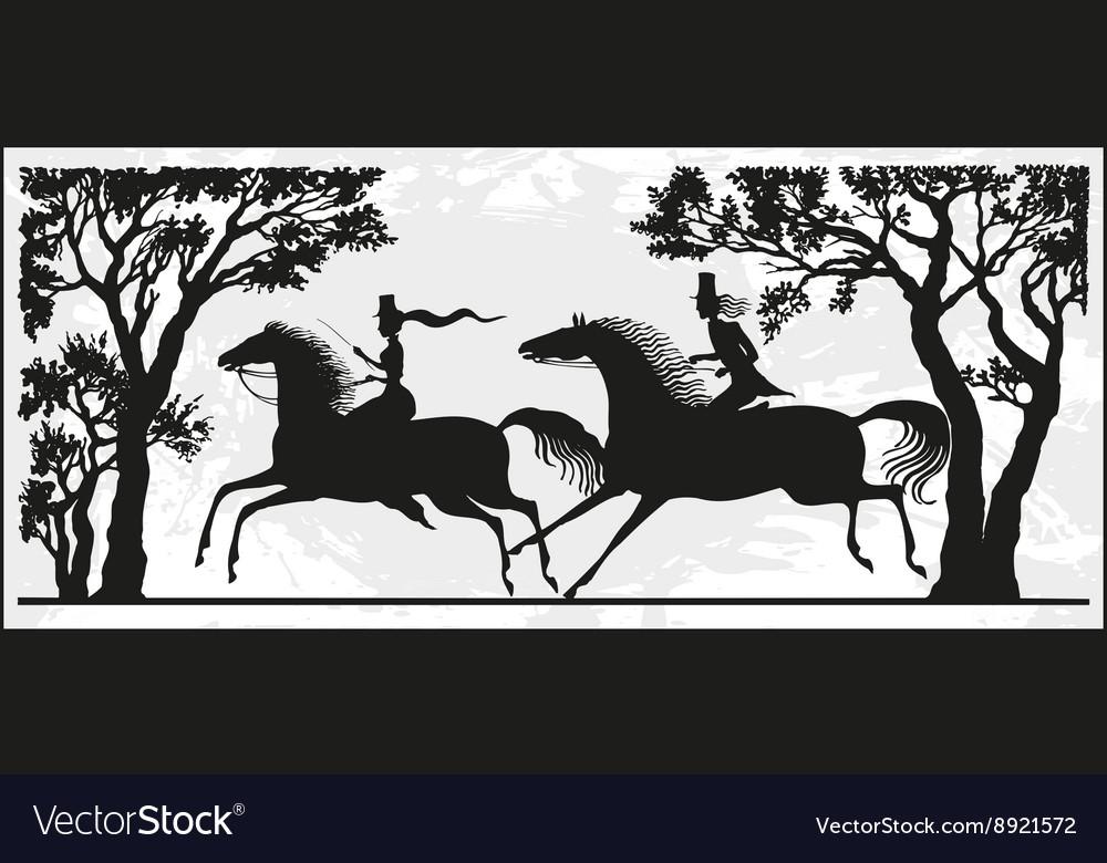 A Couple Riding vector image