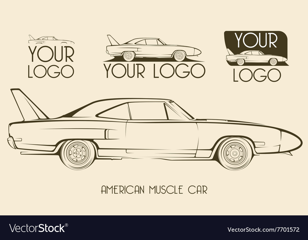 American classic muscle car silhouettes logo