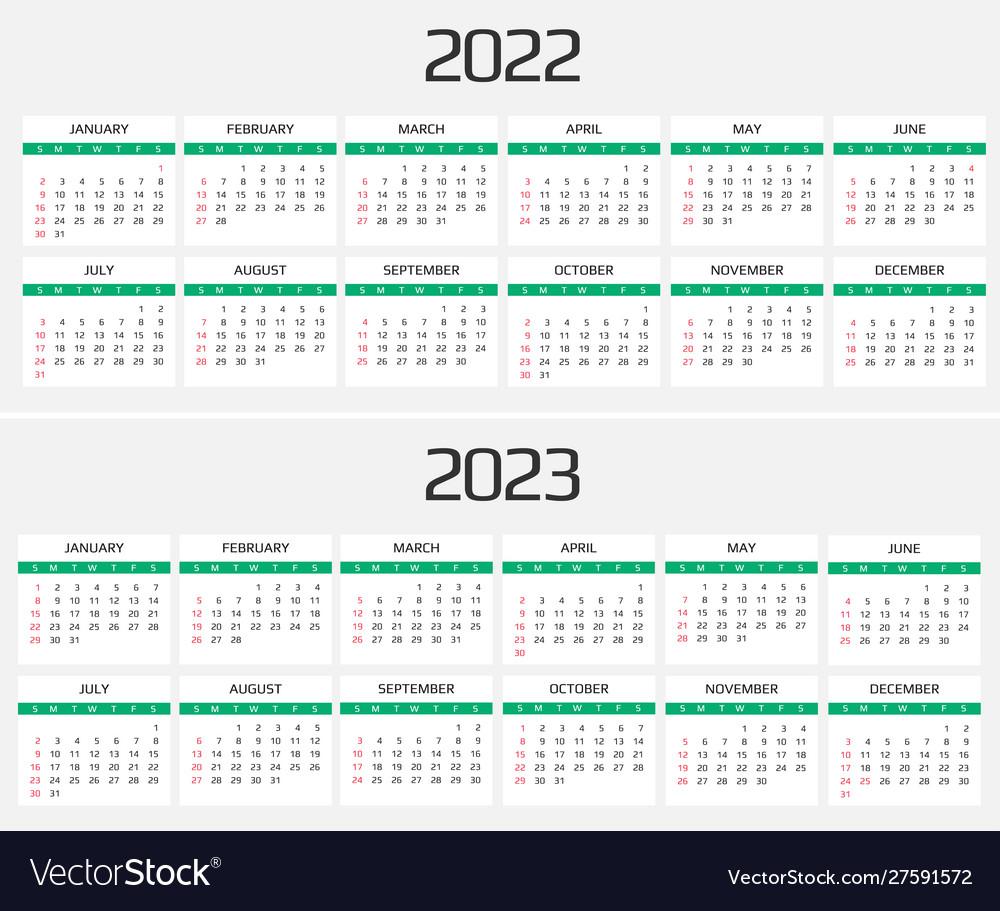 Calendar Months 2022.Calendar 2022 And 2023 Template 12 Months Vector Image