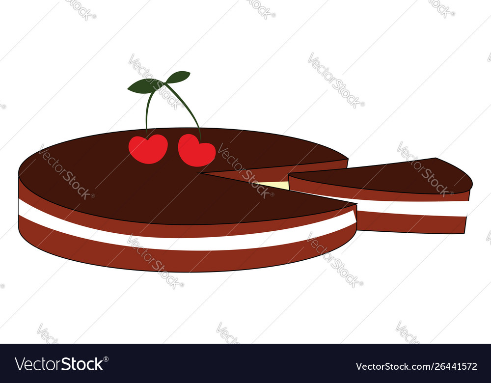 Cherry biscuit on white background