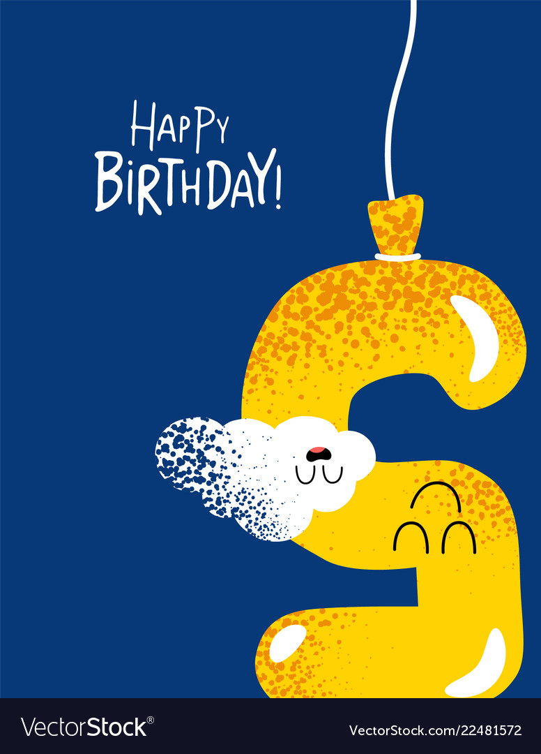 Funny happy birthday gift card number 5 balloon