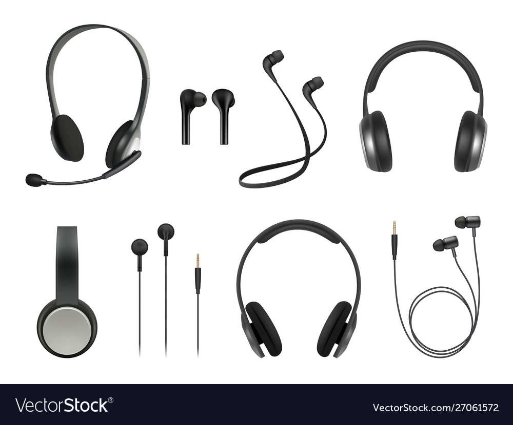 Headset realistic earbuds music modern equipment