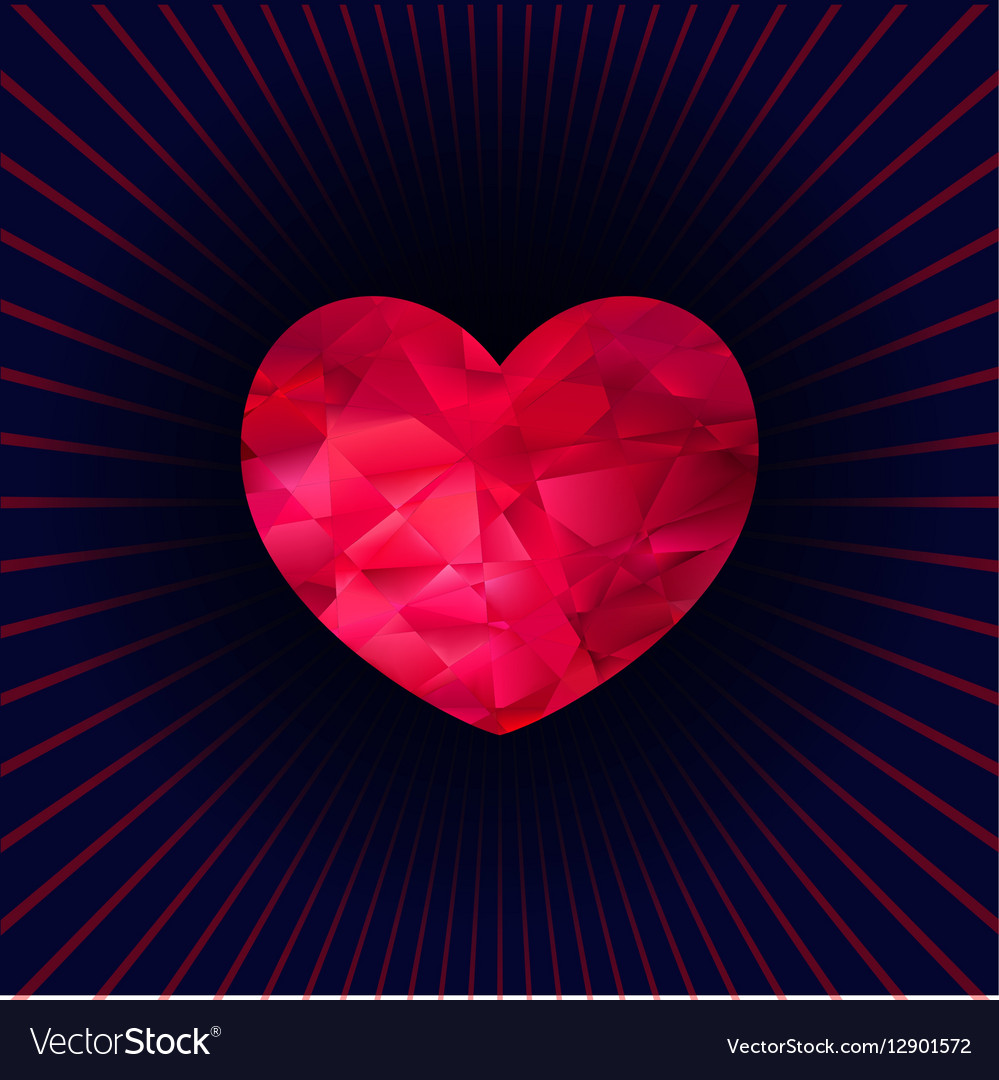 Heart made of triangles vector image