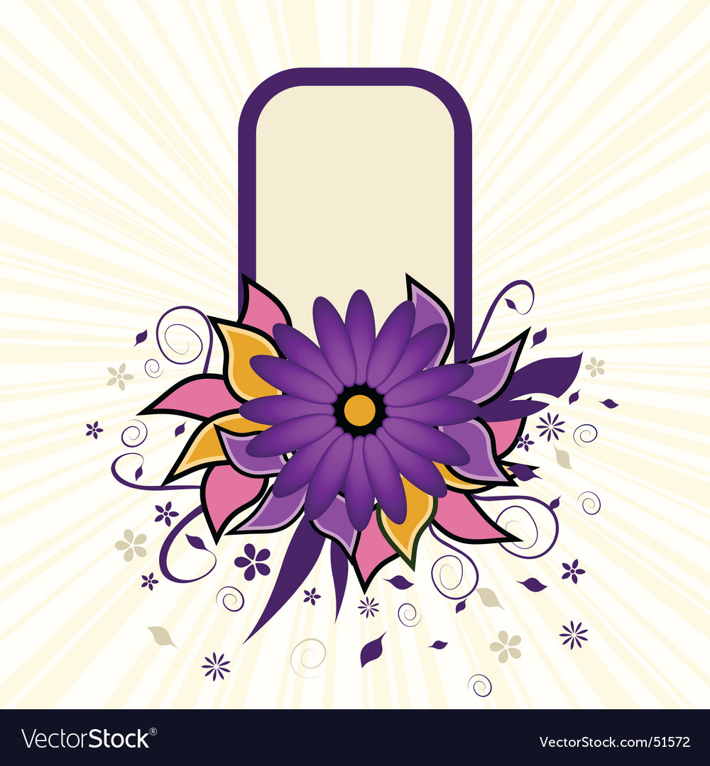 Portrait grunge flower text frame vector image