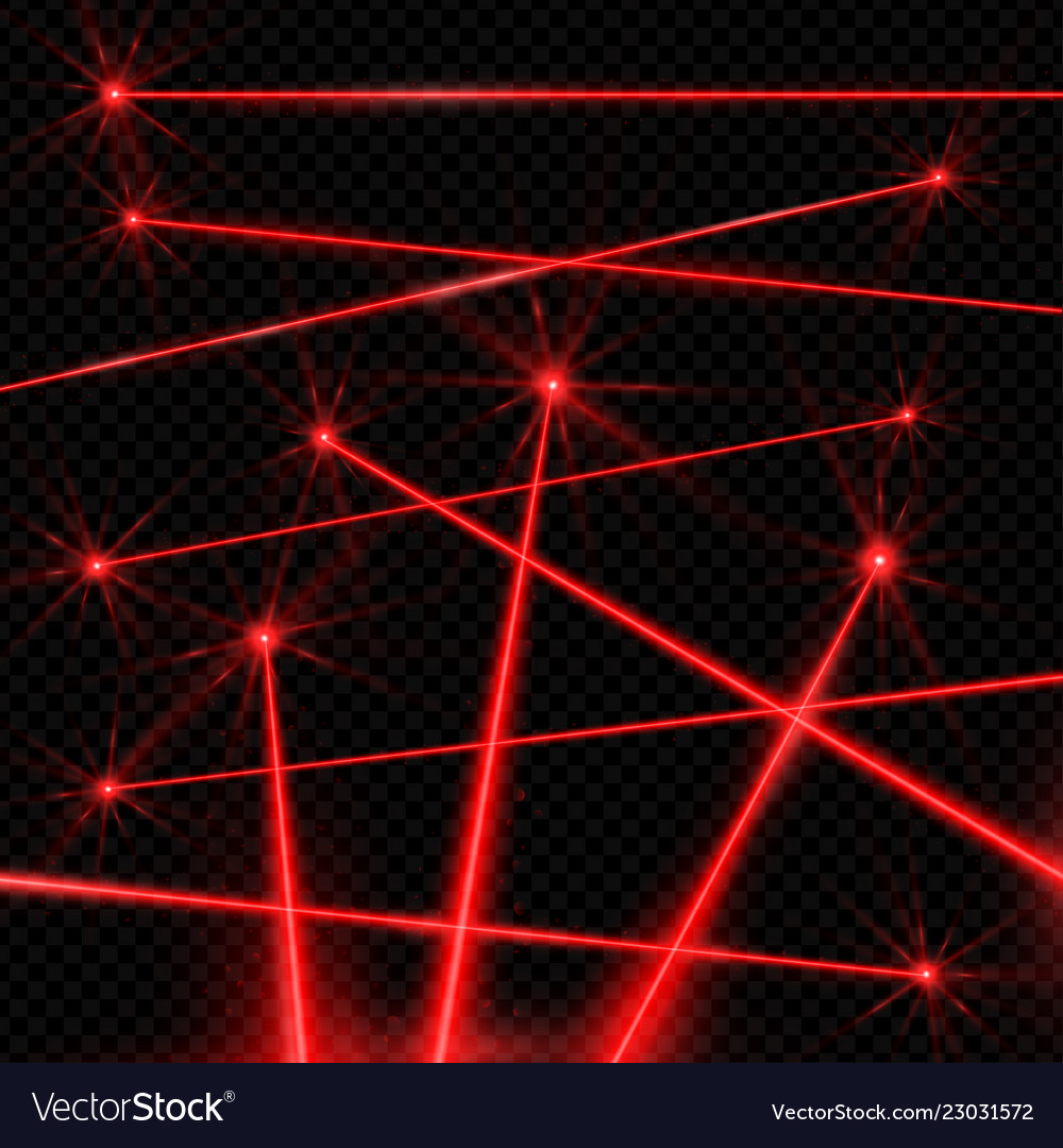 Realistic style laser beams on black background