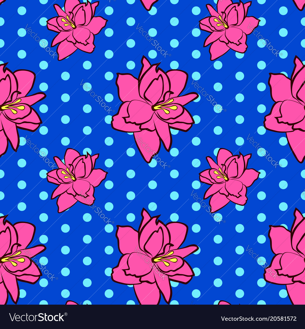 Seamless floral pattern with pink amaryllis vector image