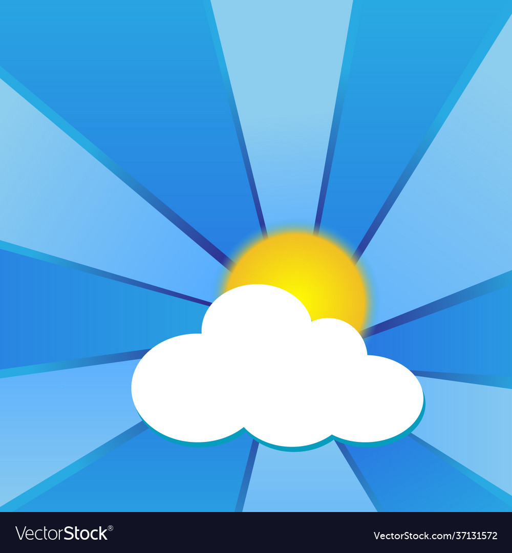Sun with clouds and blue beams