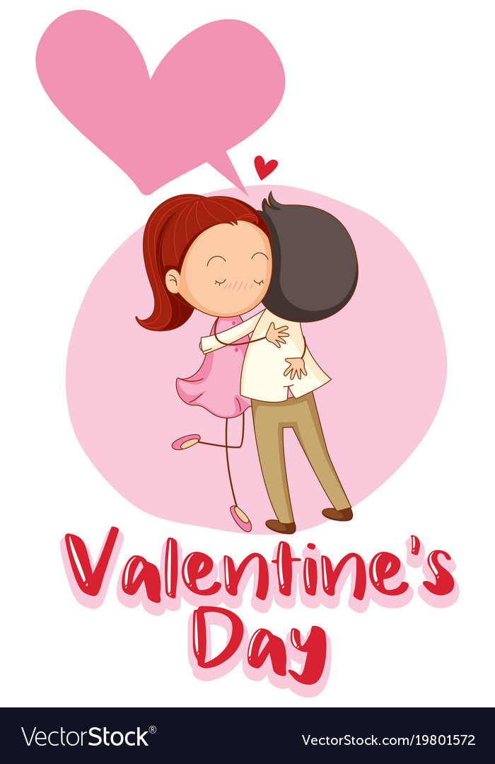 Valentine card template with couple hugging vector image maxwellsz